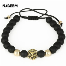 NADEEM Newest Braiding Macrame Lion Head Charm Bracelet Jewelry Women MenS Lava Rock Stone Beads Weave