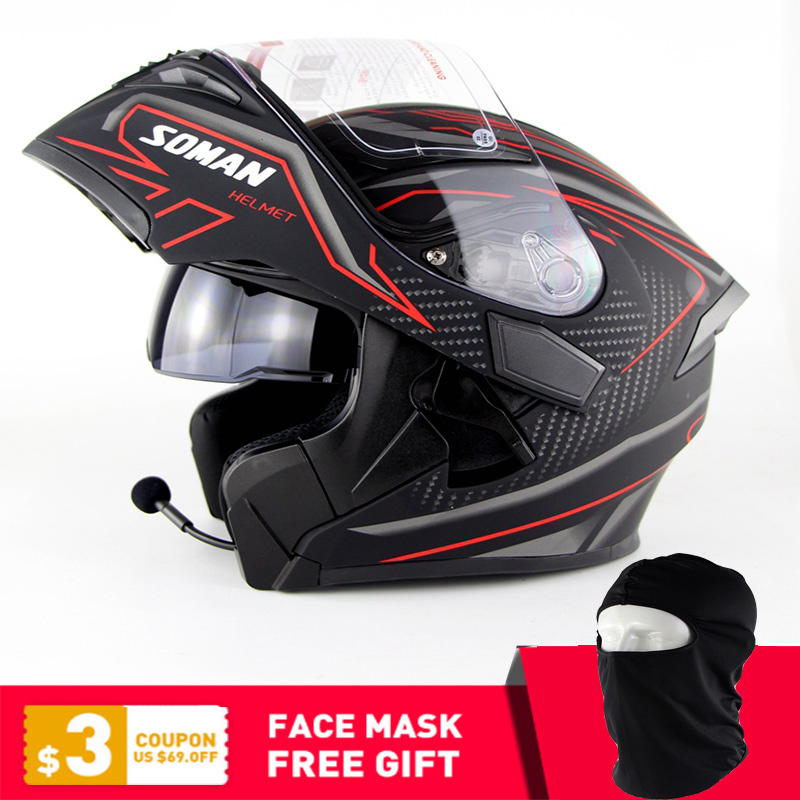 Moto À Double Lentille Casques Moto Intégré casque bluetooth Flip up Moto Capacete Casco Approbation DOT SOMAN 955 BT