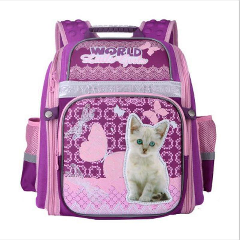NEW 2017 School Bags for Girls Cute Cartoon Cat Dog Children School Backpack Orthopedics Night Reflective