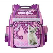 NEUE 2017 Schultaschen für Mädchen Niedlichen Cartoon-katze Hund Kinder Schulrucksack Orthopädie Nacht Reflektierende Schul Grade 1-6
