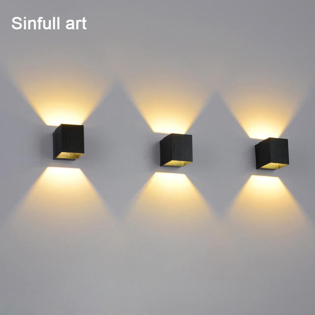 LED Aluminum Wall Lamp Bedroom Living Room Background Wall Light Creative  Black Square Home Sconce 3w