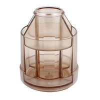 Clear Brown Double Layers Eraser Rotatable Pencil Pen Holder Container