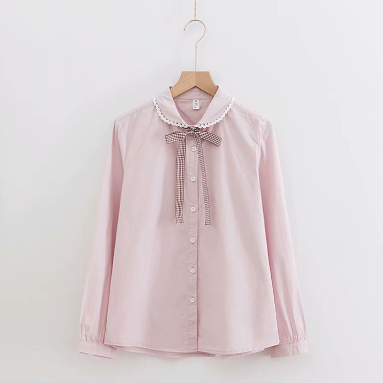 Kyqiao Women Pink Shirt 2019 Mori Girls Autumn Spring Japanese Style Peter Pan Collar Long Sleeve Print Blouse Blusas Femininas Women's Clothing