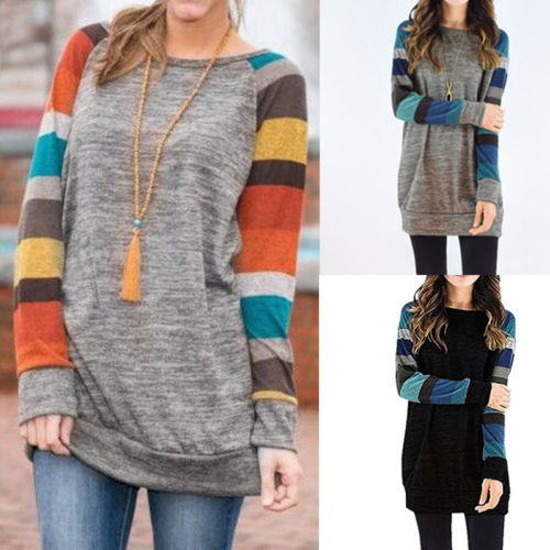Hirigin 2017 Hot Sale Ladies Sweatshirt Striped Long Sleeve Long Sleeve Casual Tops For Women S-XXL 5 Size O Neck Long Shirt
