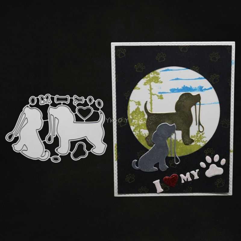 Sevimli köpek Metal kesme ölür Stencil DIY Scrapbooking albümü damga kağıt kartı kabartma zanaat dekor