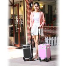 2016 New Universal Wheels Professional makeup Nail Box Cosmetic Trolley Case Beauty Box for artist Black and Pink