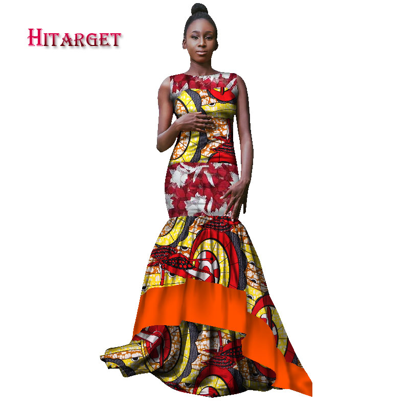 5684ba9540c12 Bazin Riche African Dresses for Women Bride Vestidos Kanga Clothing Dashiki  African Wax Print Splice Lace Dresses Clothes WY1738
