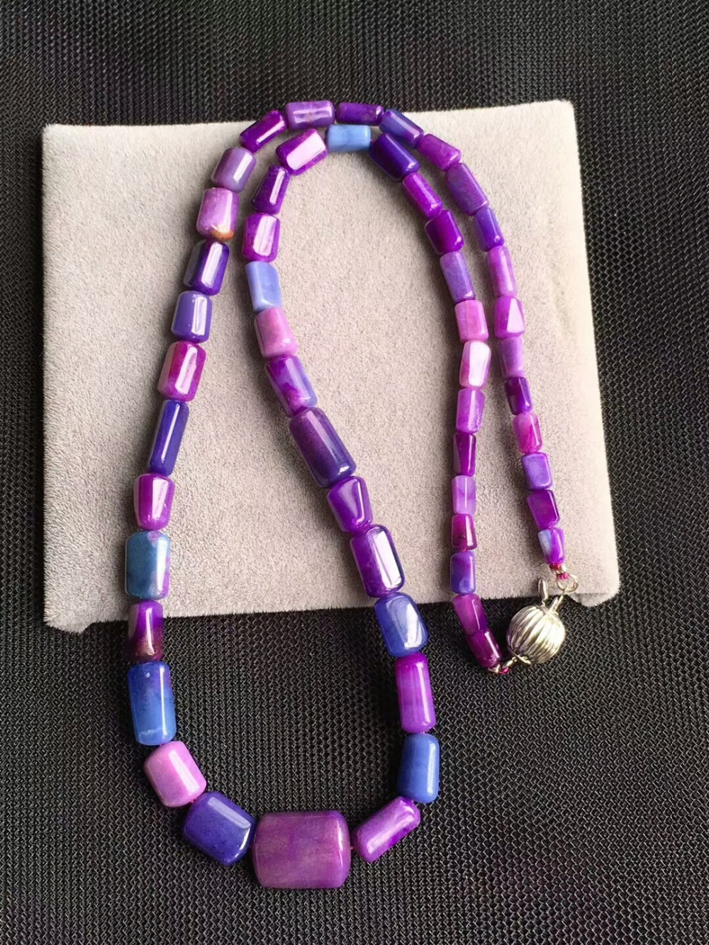 Genuine Natural Blue Pink Sugilite Gemstone South African Crystal Barrel Beads Woman Necklaces 10mm AAAAA Certificate