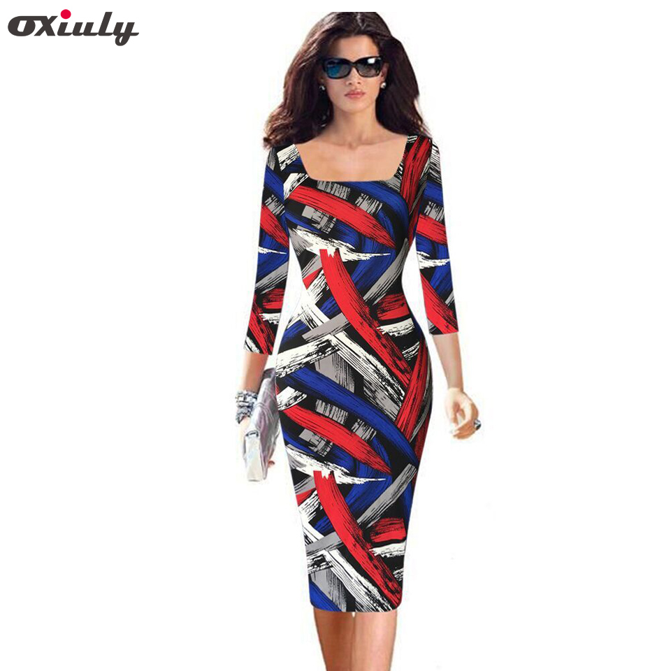 Oxiuly Plus Size 4XL 5XL Donna Elegante Vintage Rockabilly Colored Stripe Stampa Slim Pinup Casual Party Pencil Vestito aderente