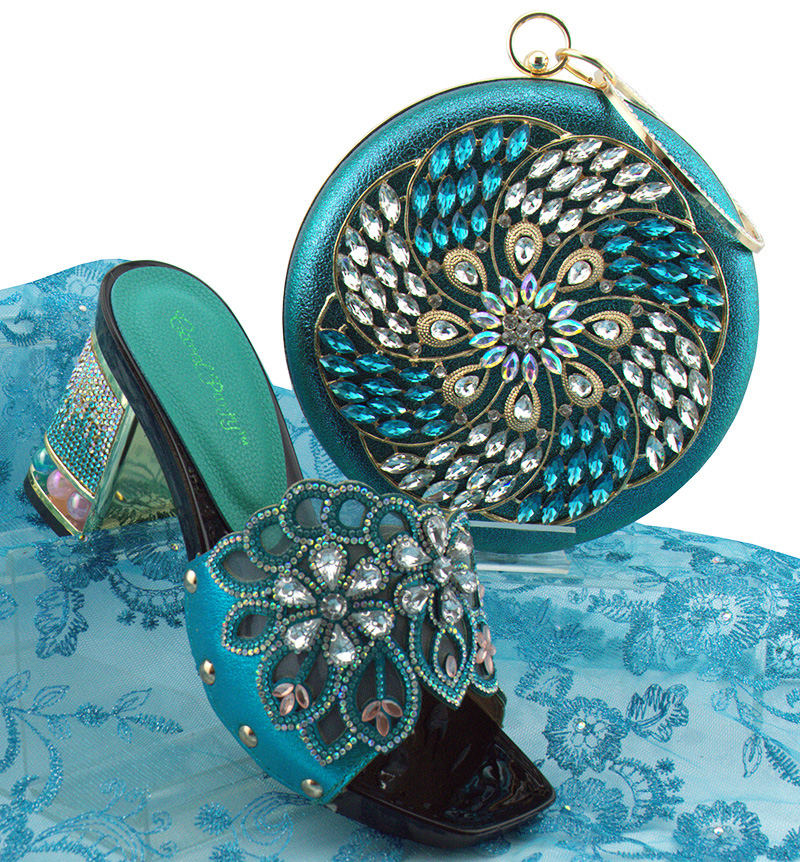 Newest fashion <font><b>shoes</b></font> and bags to match in women slippers with low heel and many crystals italian <font><b>turquoise</b></font> blue <font><b>shoes</b></font> SB8161-3