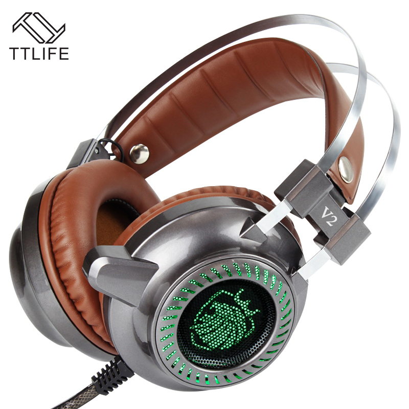 TTLIFE Sport Gaming Headset Wired earphone Game headphone with microphone led noise canceling headphones for computer Pc White