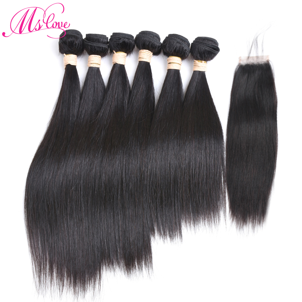 Ms Love Hair Straight 6 Bundles With Closure Indian Hair Straight Remy Human Hair Bundles With Closure 4*4 Lace Size