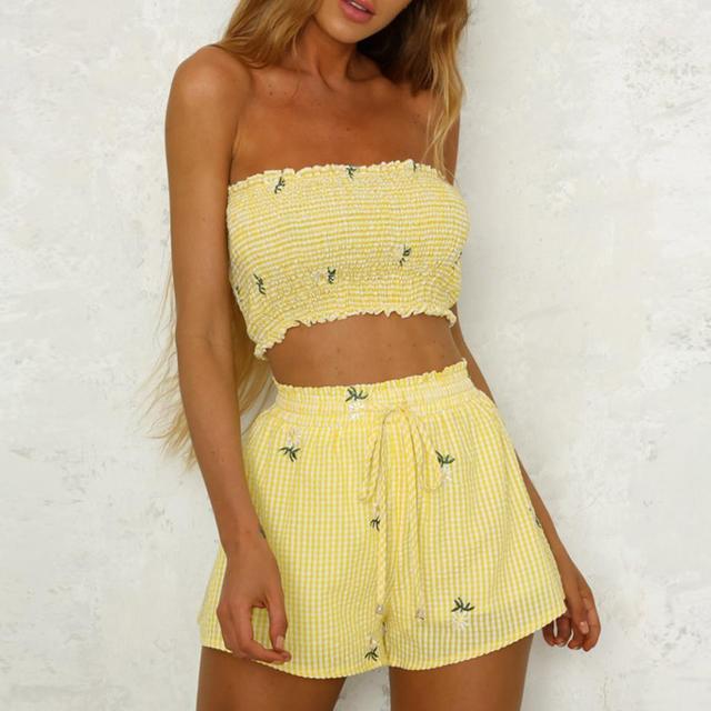 Feitong Thời Trang Phụ Nữ Cô Gái Đặt Hoa In Tắt Shoulder Vest Tank Tops Thống Quần Short Băng Quần Thiết Lập Mùa Hè Bãi Biển Mặc phù hợp với