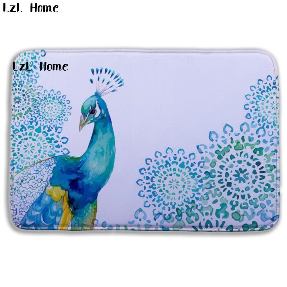 LzL Home 2017 New Style Pretty Painting <font><b>Deer</b></font> Peacock Printed <font><b>Bathroom</b></font> Carpet Flannel Toilet <font><b>Mat</b></font> Tapete Banheiro Bath <font><b>Mat</b></font> Slip image