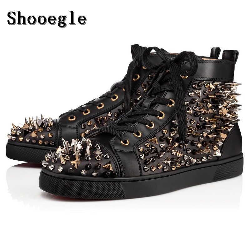 SHOOEGLE Black/White Leather Rivets Men Shoes High-Top Fashion Spike Sneakers Shoes Outdoors Flats Casuals Shoes Chaussure Homme