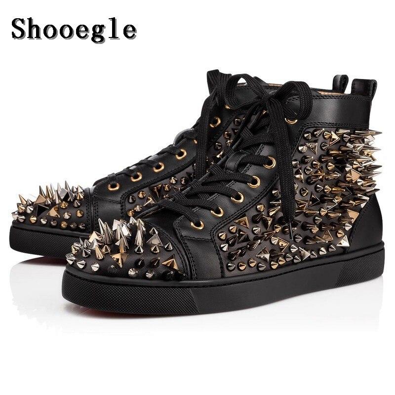 Rebites de Couro Masculinos de Alta Sapatos ao ar Shooegle Preto Branco Sapatos Qualidade Moda Spike Tênis Livre Apartamentos Casuais Chaussure Homme –