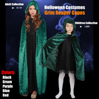 Adult Children Collection Helloween Costumes Masquerade Female Witch Grim Reaper Vampire Cosplay Black Bleach Capes Shawl