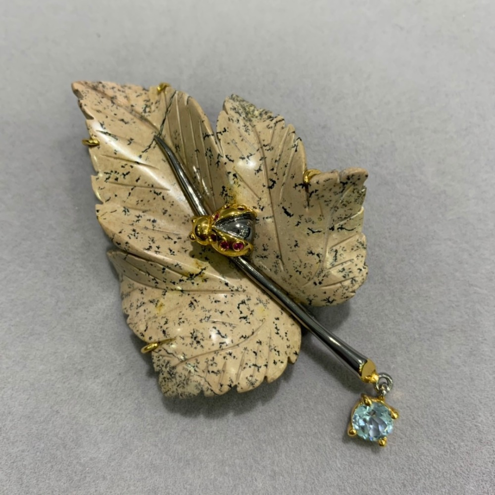 only 1 piece natural semi precious stone brooch & pendant double use plant maple leaf brooch pins classic insect ladybird