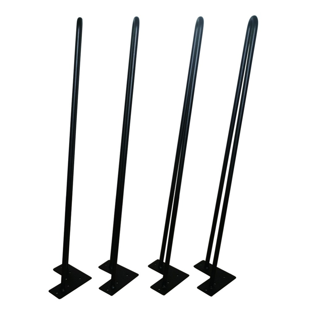 цена на Free shipping-28 Black Hairpin Legs,1/2 Solid Iron,Pack OF 4,Metal Furniture Leg FOR Dinning Tables, Computer Desk Leg