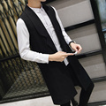2016 autumn winter men's medium-long teenage vest boys handsome sleeveless trench outerwear male slim kaross singer ostumes