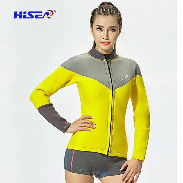 Hisea 2.5MM Neoprene Women Diving Tops Pants Long Sleeve UV Sun Protection Snorkeling Jacket Pants Water Sport Surfing Swimsuit