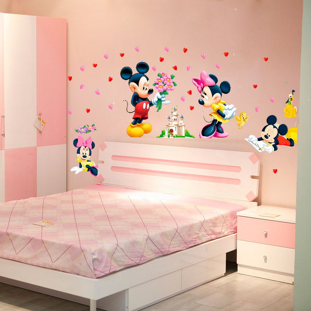 buy cartoon mickey minnie mouse baby home decals wall stickers for kids room. Black Bedroom Furniture Sets. Home Design Ideas