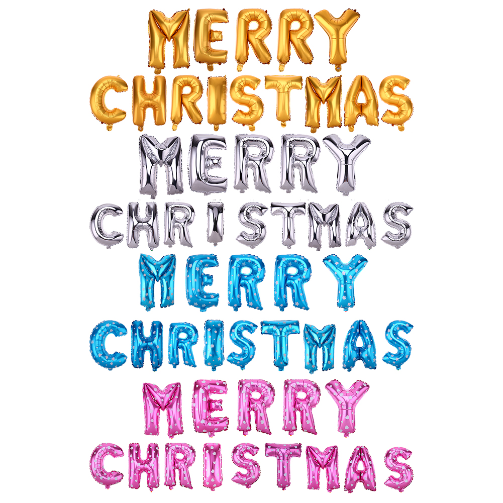 Merry Christmas Letters Foil Balloon Set Party Festival Decoration Golden Silver Blue Pi ...