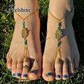 Boêmio Cadeia Cor de Ouro Tornozeleiras Praia Barefoot Sandálias Pé Jóias Grânulos Coloridos Decoração Mão Boho Chic Tornozeleiras Para As Mulheres