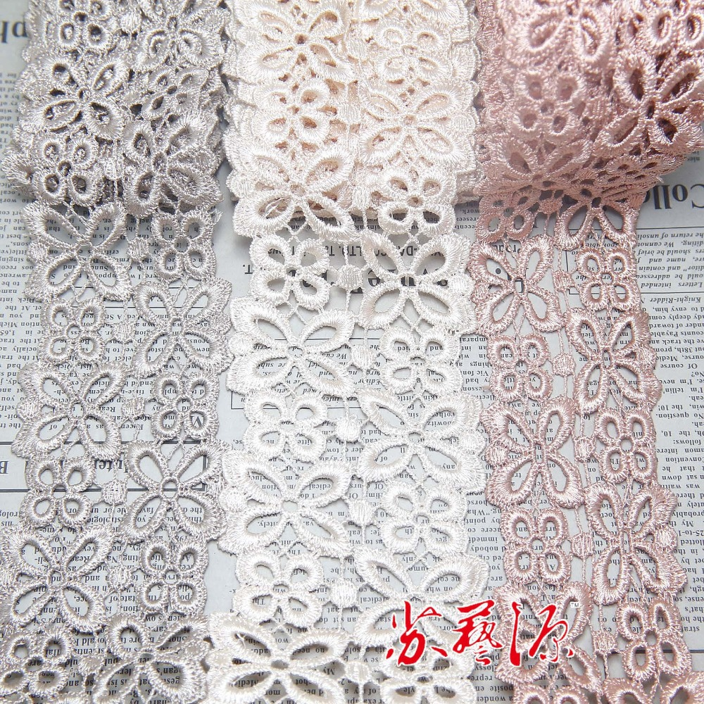 1 Yard 60/74/57mm Width Camelcreamold Pink Water Soluble Embroidery Lace Trim Sewing Bedding ...