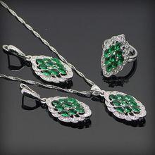 Impresionante Verde Creado Esmeralda Blanco Topaz 925 Collar de Plata de La Joyería Para Las Mujeres Pendiente Colgante Anillo Caja de Regalo
