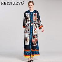 Women Vintage Long Dresses Autumn Winter 2017 Full Flare Sleeve Poker Print Loose Plus Size Loose Ankle Length Maxi Belt Dress