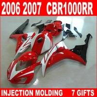 7 Gifts fairings for HONDA cbr 1000 rr fairings glaring red white black CBR1000RR fairing kits 06 07 cbr 1000rr moto KGB93