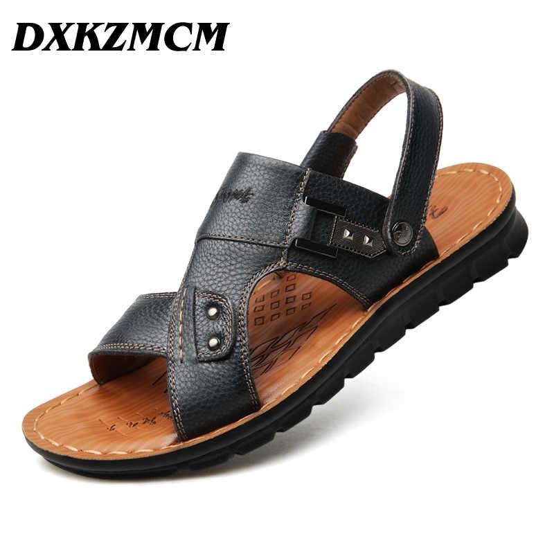 DXKZMCM 2019 ของแท้หนังสบายๆชายรองเท้าแตะ Breathable สำหรับผู้ชายเดินยี่ห้อคุณภาพสูงสบายรองเท้า