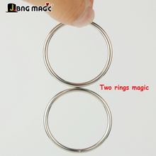 Silver Super Two Rings Set Baby Iron Magnetic Lock Kids Party Show Stage Magic Tricks 041