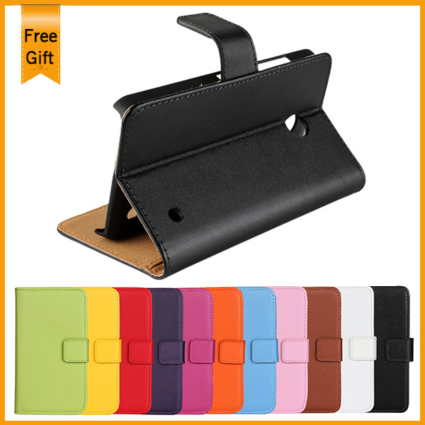 For Lumia 630 Case, Luxury Wallet Stand Genuine Leather Case for Nokia Lumia 630 With Credit Card Holder Mobile Phone Cases,1Pcs