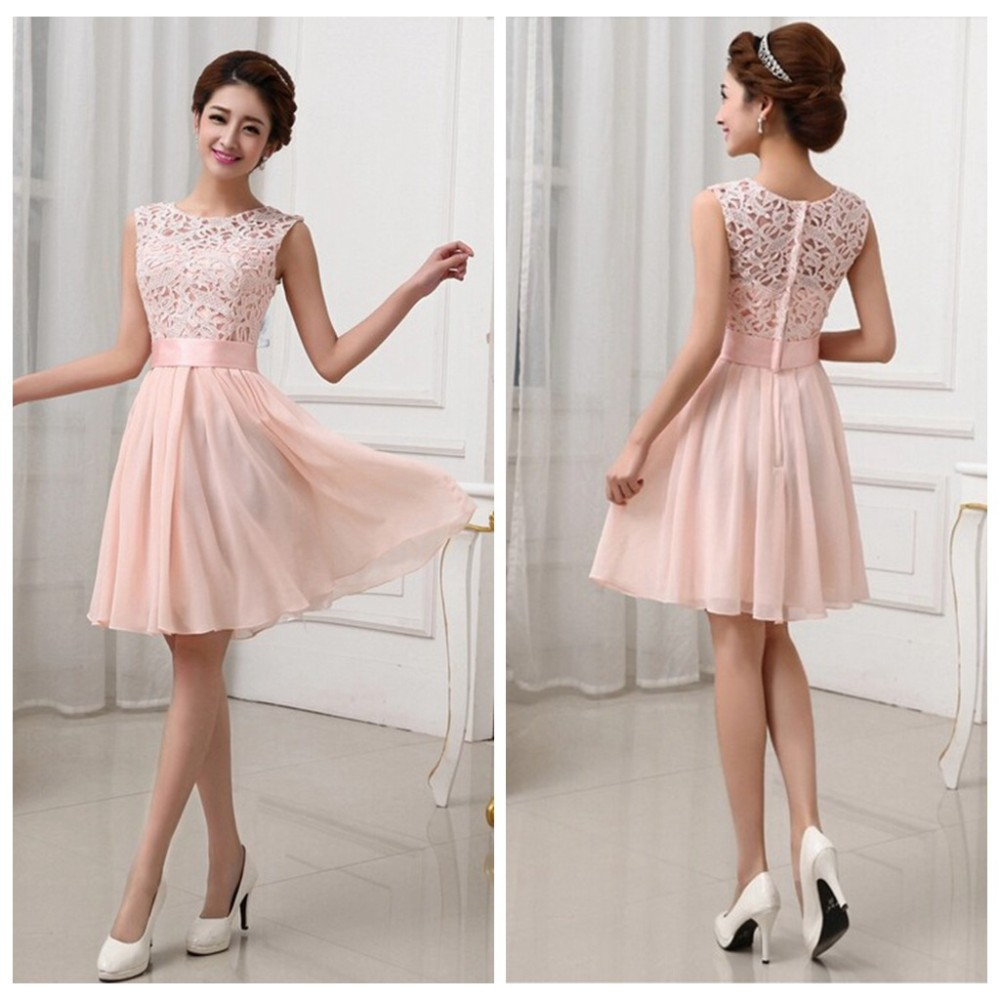 2015 Pink White Sleeveless Knee Length Women Wedding Party Dresses White Lace Formal Prom Gown