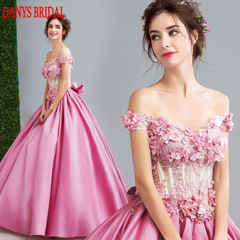 Розовые длинные Кружево Вечерние платья партии Для женщин атлас с открытыми плечами вечерние платья Платья для женщин одежда вечернее плат