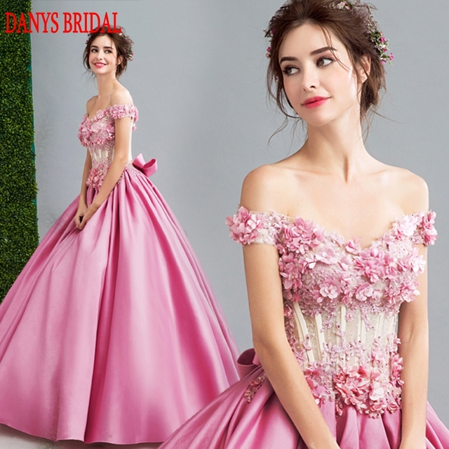 c242e2827f US $139.5 10% OFF|Pink Long Lace Evening Dresses Party Women Satin Off  Shoulder Formal Evening Gowns Dresses Wear robe de soiree longue-in Evening  ...