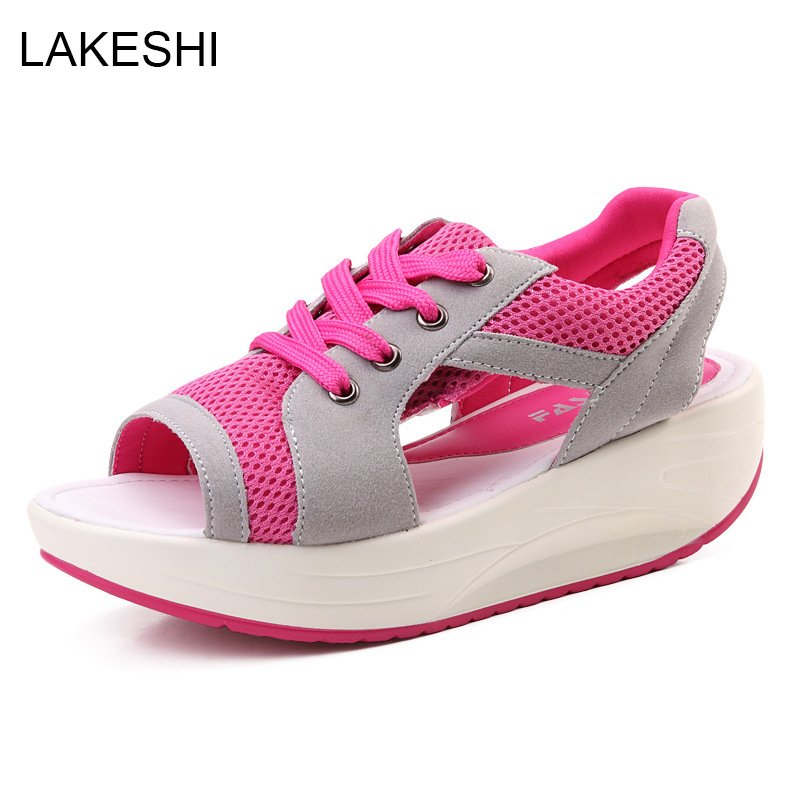 Shoes Women Chunky-Sandals Wedges Platform Summer Female Fashion Beach Mesh Lace-Up Muffin-Bottom