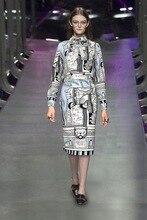 Fashion woman's print shirts blouse pencil skirts European style OL dress sets S-XL size
