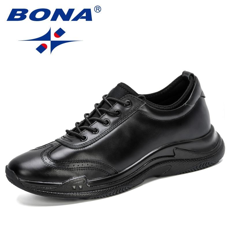 BONA 2019 nouveau Designer en cuir véritable hommes chaussures décontractées mode à lacets baskets pour hommes plat chaussures de plein air hommes chaussures de loisirs-in Chaussures décontractées homme from Chaussures    1