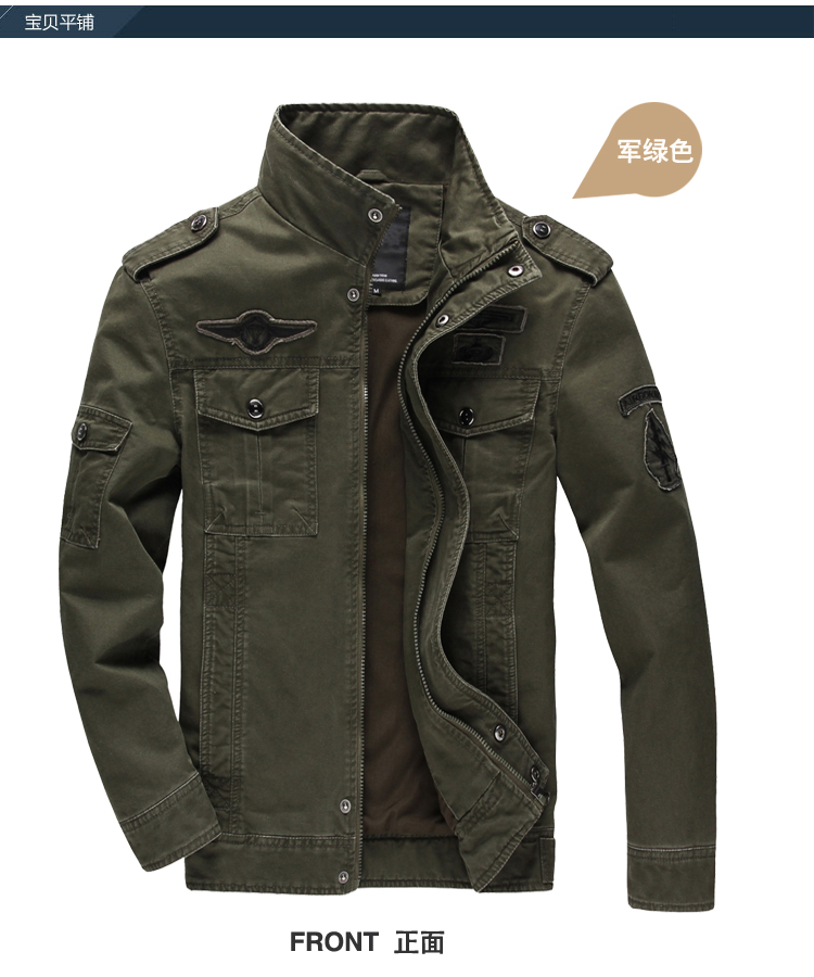 2018 Herbst Und Winter Herren Jacke Softshell Militar Armee Baumwolle Air Force Grün Werkzeug Einfarbig Abzeichen Mantel Taktische Jacke äSthetisches Aussehen