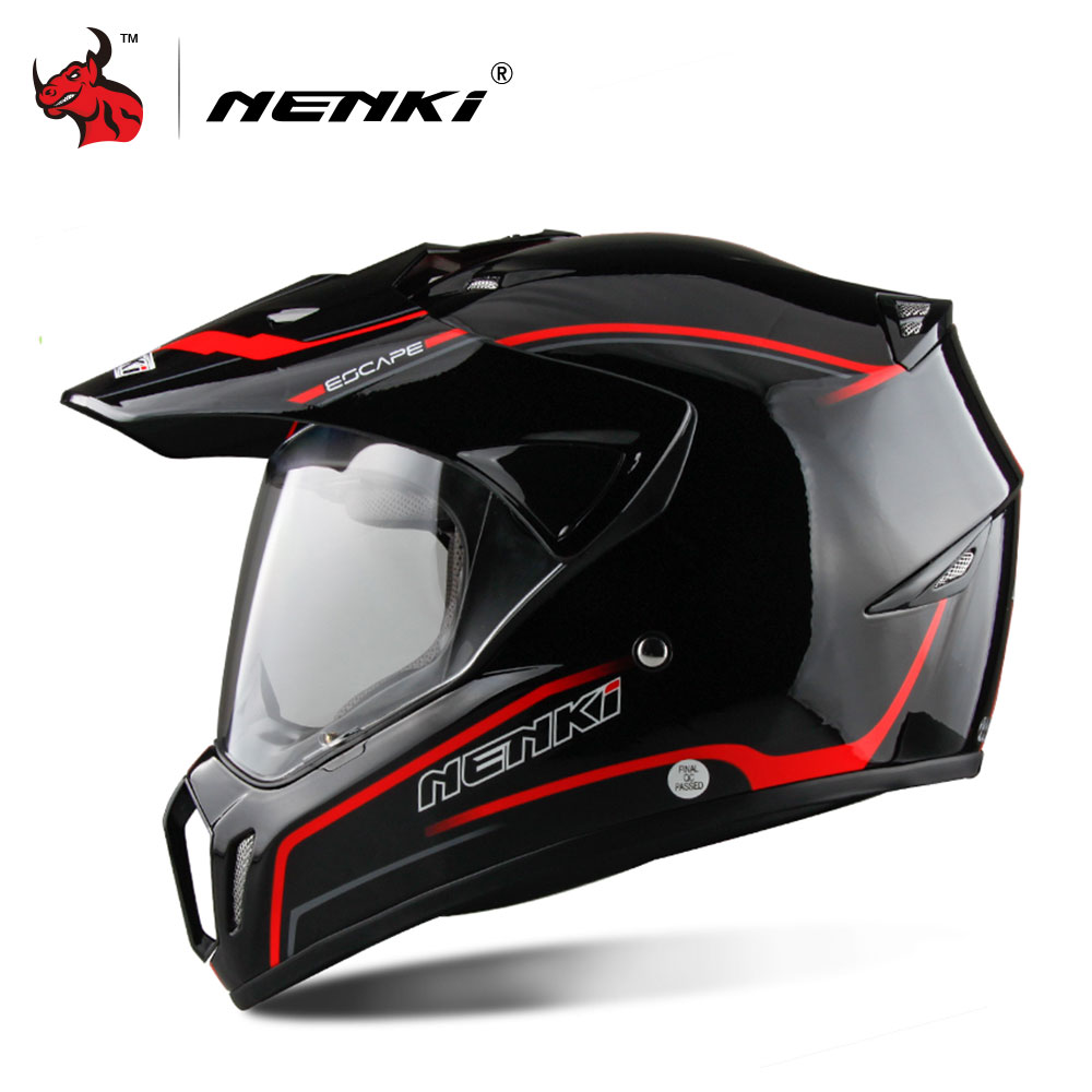 NENKI Black Full Face Motorcycle Helmet Motorcycle Riding Helmet Men
