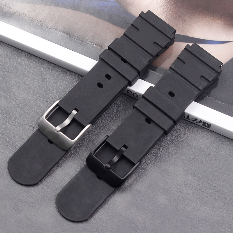 Silicone strap male 21mm for Luminos 3000 3001 3100 3900 ladies sports waterproof natural rubber strap buckle watch accessories in Watchbands from Watches