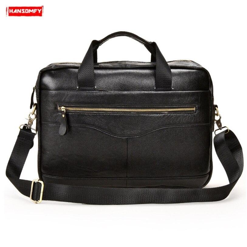 Soft Cowhide Leather Men Handbag Genuine Leather Shoulder Bag Business Men's Crossbody Bag Travel Black Leather Laptop Briefcase