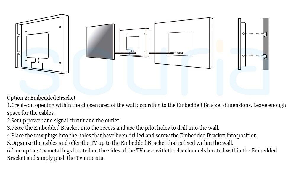 Souria 27 inch 1080P Full HD WiFi Android 9.0 Smart Internet Waterproof bathroom TV Black/White IP66 Glass Panel