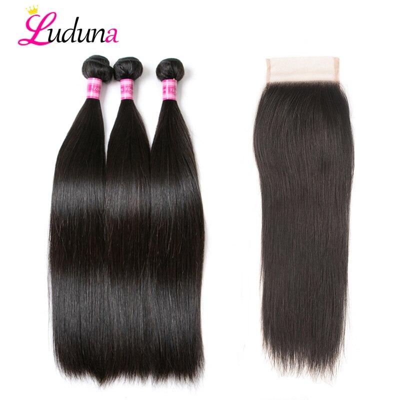 Luduna Straight Hair Bundles With Closure Brazilian Hair Weave 3 Bundles With Lace Closure Remy Human