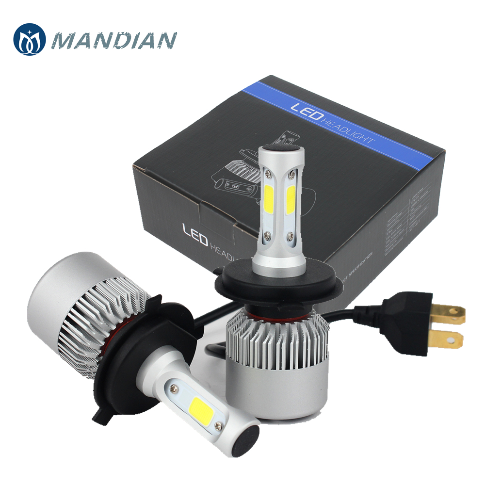 Car S2 LED Headlight Bulbs H4 H7 9005 9006 Conversion Kit LED Fog Headlamp Bulb 72W Cool White COB Chips Hi-Lo Beam Light