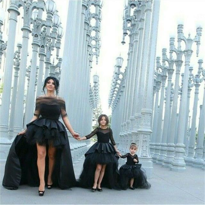 2016 Black Ball Gown   Flower     Girl     Dresses   With Long Sleeves Little   Girls   Party   Dress   Hi-low Pageant Gowns Custom made