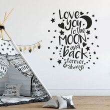 I Love You To The Moon And Back Cartoon Quote Decals Vinyl Home Decor For Kids Room Nursery Wall Sticker Star Dot Wallpaper BO41